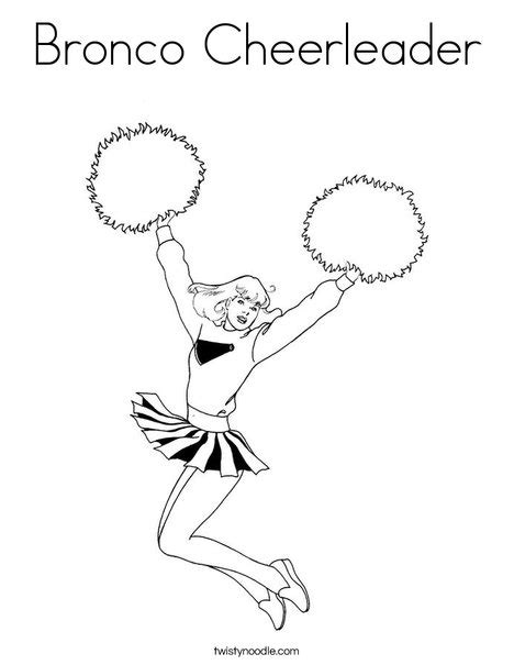 Bronco Cheerleader Coloring Page Twisty Noodle Pom Pom Coloring Pages