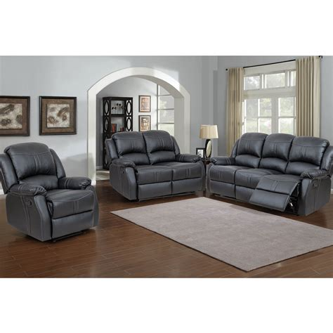 3pc Recliner Sofa Set Black Bonded Leather Infosofa Co Black Leather Recliner Sofa Set