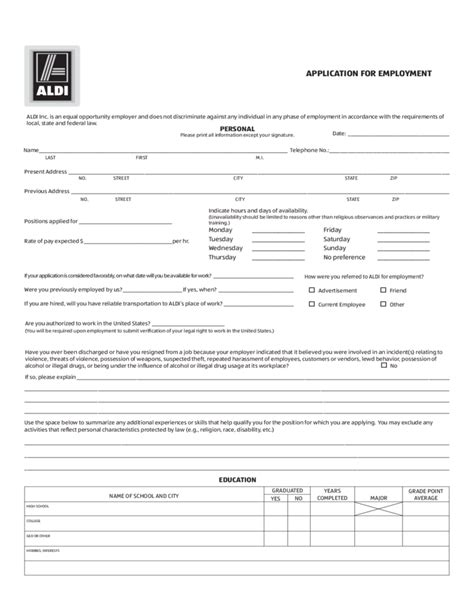 printable job application for aldis pin aldi printable job application form image search