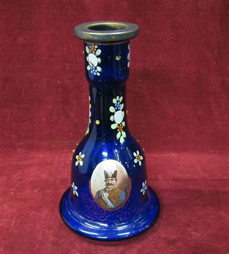 cobalt blue glass l base antique cobalt blue swirl authentic persian hookah glass