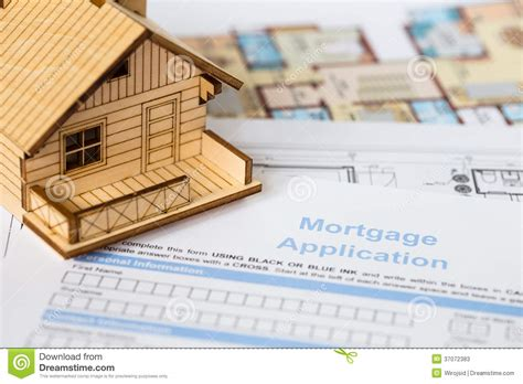in house mortgage house mortgage application with model house stock photos image 37072383