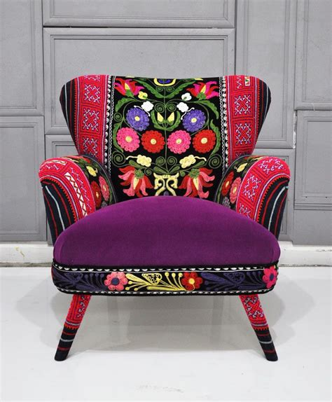 suzani fabric chair patchwork armchair with suzani thai hmong and velvet