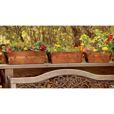 copper window boxes planters c creek garden copper plated window box planters set