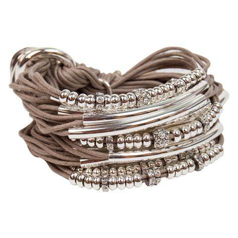 Taupe Silver Tubes Beads & Rondels Bracelet by Gillian Julius