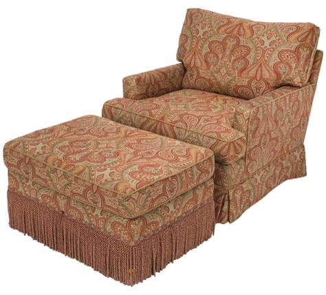 Fabric Chair And Ottoman Chair And Ottoman Upholstered In Wool Paisley Fabric At 1stdibs