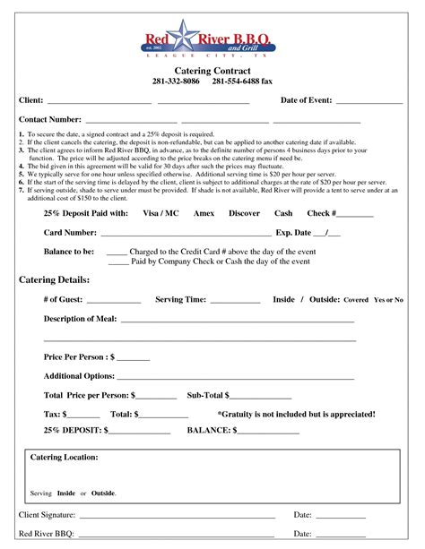 catering contract free printable documents