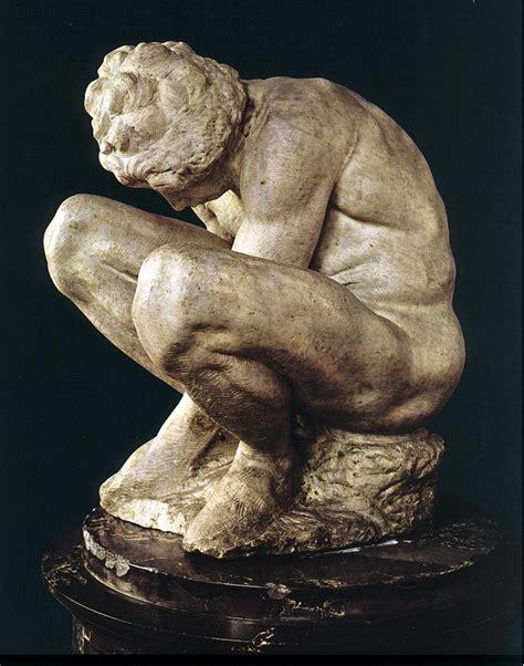 michelangelo sculptures rear view michelangelo and famous art michelangelo crouching boy 171 michelangelo 1475 1564