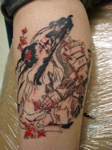 geisha tattoo wallpaper samurai and geisha tattoo by daredevil840 on deviantart