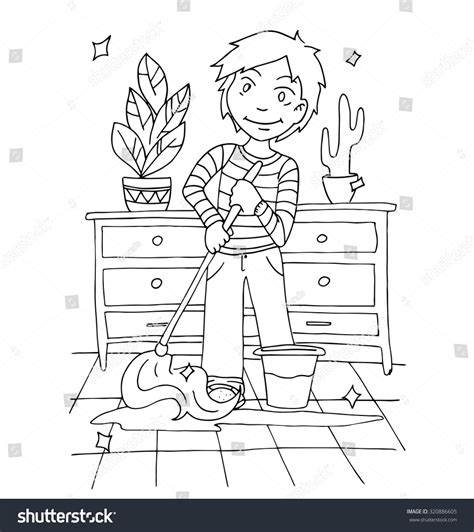 Washing Line Outline by Boy Helping Parents Around House Stock Vector 320886605