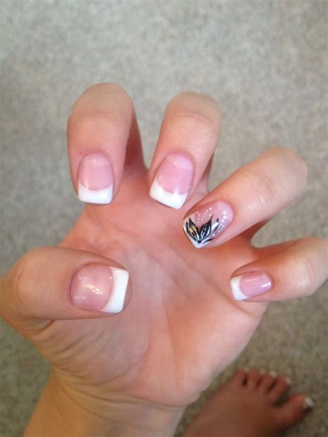 Gel Nails With Tips by Gel Nails Tip With Black Flower Nails