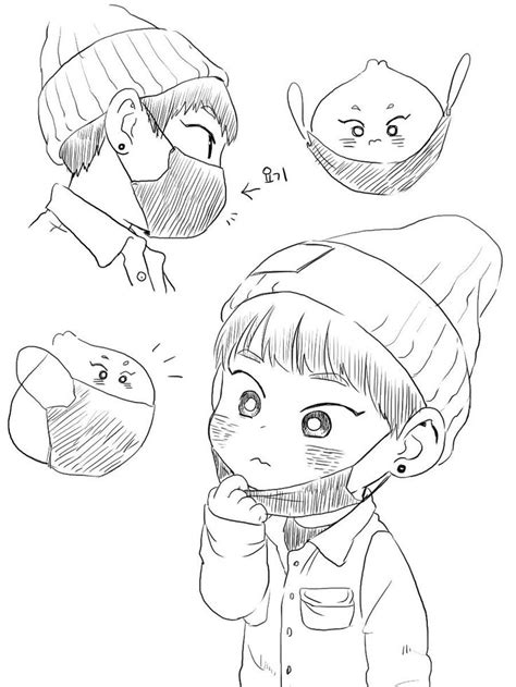 exo chibi coloring pages exo chibi fan art sketch coloring page