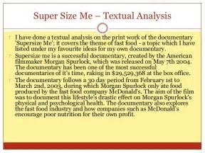Textual Analysis Essay Intro by Size Me Textual Analysis