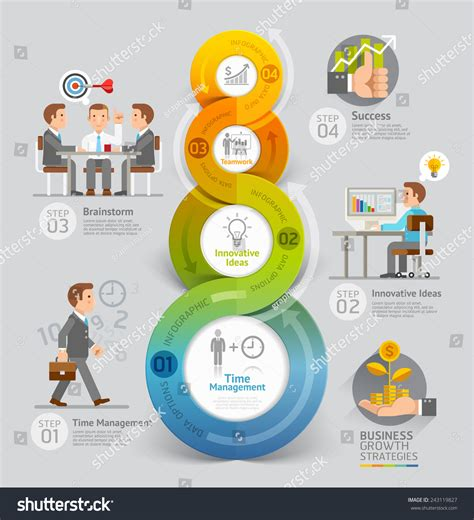 workflow strategy business growth strategies concept vector illustration