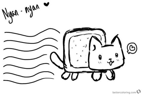 nyan cat coloring pages nyan cat coloring pages black and white free printable