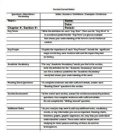 cornell notes intro template