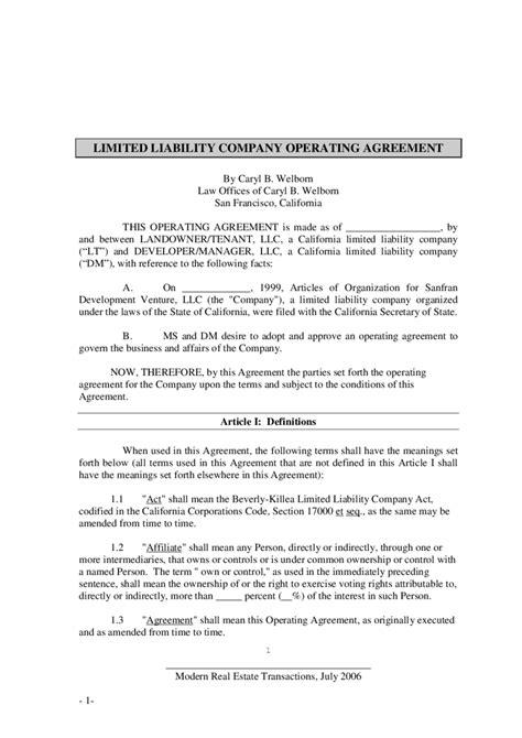limited liability agreement template kansas llc operating agreement