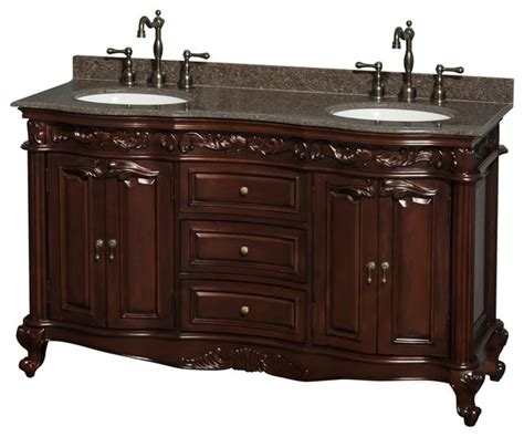 victorian bathroom vanities edinburgh 60 quot cherry vanity brn granite top round sinks