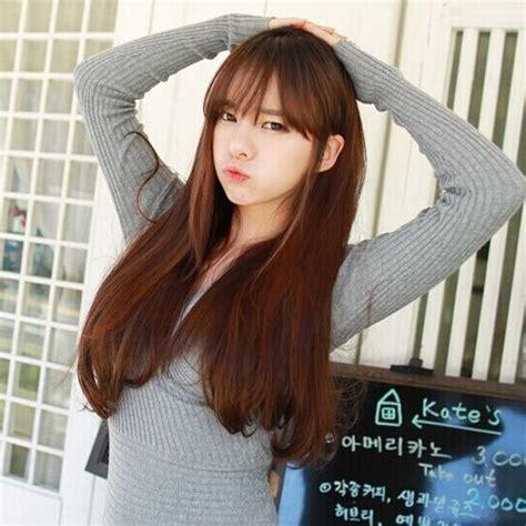 Wig Poni Depan Curly korean air thin bangs wig curly hair hair in the pear weijuan the