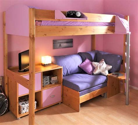loft bed with sofa underneath bunk bed with desk and sofa underneath