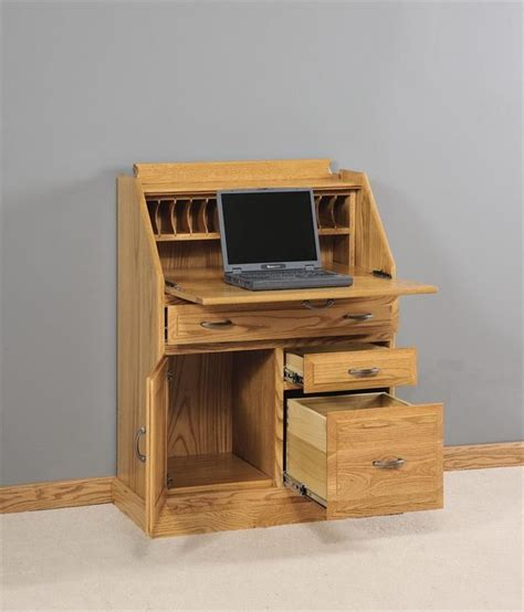 Slant Top Writing Desk Amish Secretary Desk With File Cabinet Drawer Cabinet