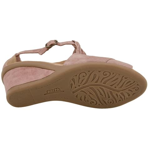 earth caper womens leather wedge sandals free shipping