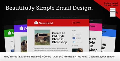 Newsfeed Email Template By Themewich Themeforest Themeforest Html Email Template