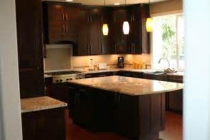 Cabinets dark staining light wood cabinets