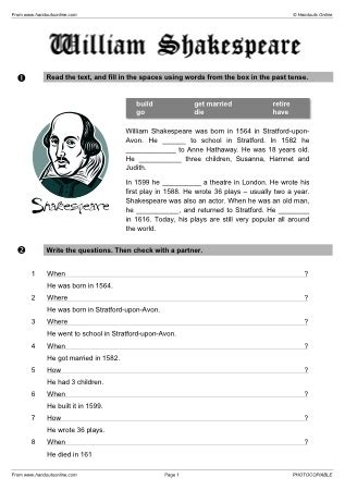 william shakespeare biography in simple english shakespeare worksheets worksheets releaseboard free