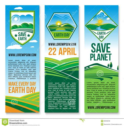 conservation through green building design earth habitat vector earth day banners for save planet nature stock