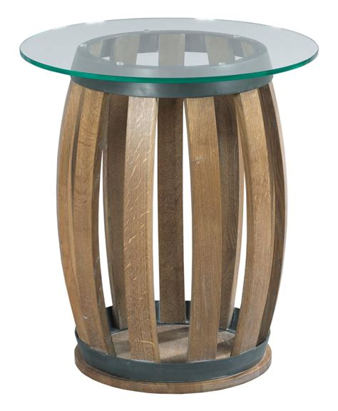 wine barrel table glass top rustic wine barrel accent table with tempered glass top by
