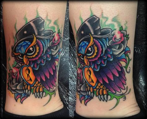 tattoo new school traditional new school owl tattoo by calebslabzzzgraham on deviantart