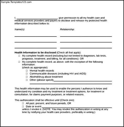 hipaa templates sle hipaa authorization form sle templates