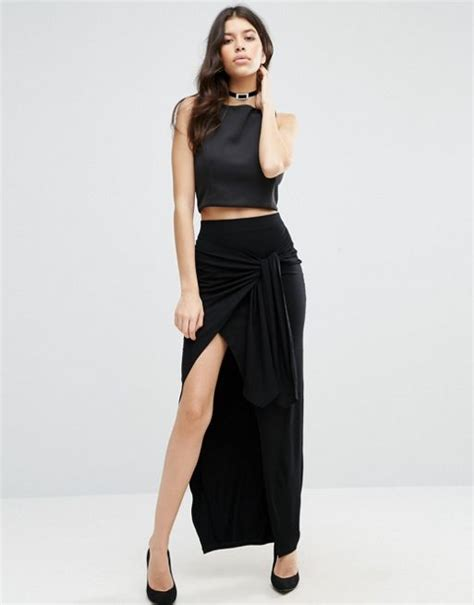 asos asos maxi skirt with twist knot