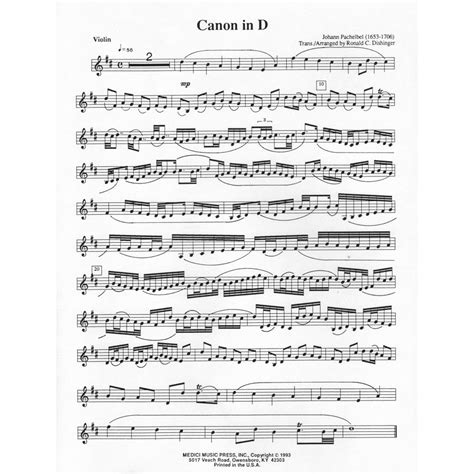 pachelbel johann canon in d for violin and piano