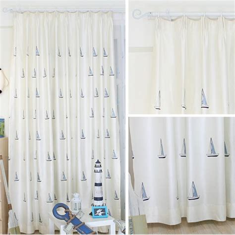 long kids curtains white nautical embroidery polyester insulated long kids