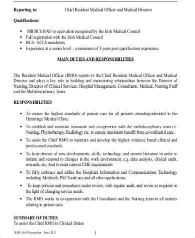 medical officer job description samples  ms