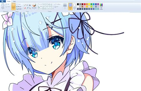 speedpaint draw anime on ms paint rem