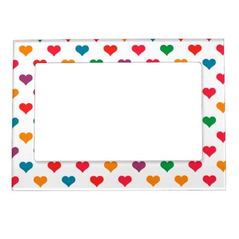 heart pattern frame cute colorful heart pattern picture frame magnet zazzle