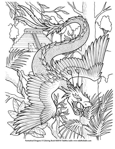 quetzalcoatl coloring page by tablynn on deviantart