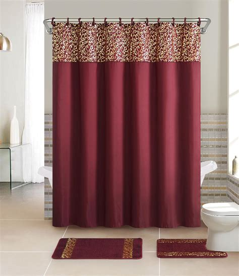 shower curtains set essential home 15 piece bath set metalic scroll burgundy
