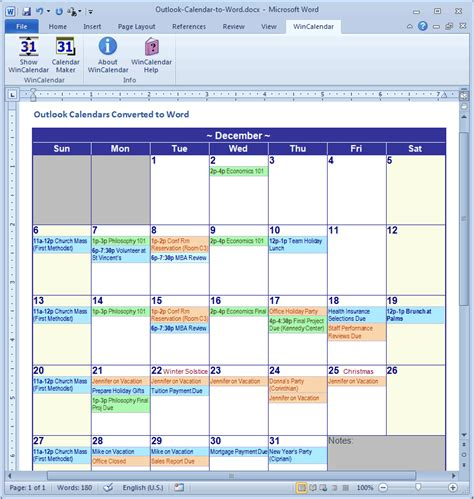 Calendario Outlook Convert Outlook Calendar To Excel And Word