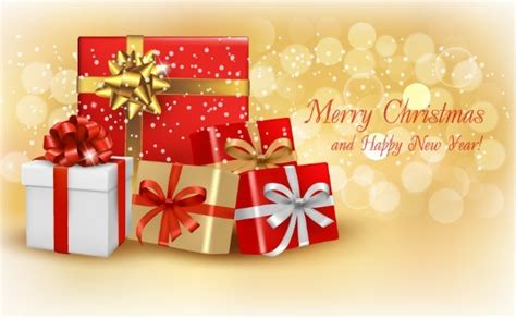 Merry Christmas And Happy New Year Gift Card - free merry christmas and happy new year gift boxes vector titanui