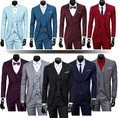 set of 3 fancy coat mens three classic set vest formal working jacket groom wedding dress suit ebay