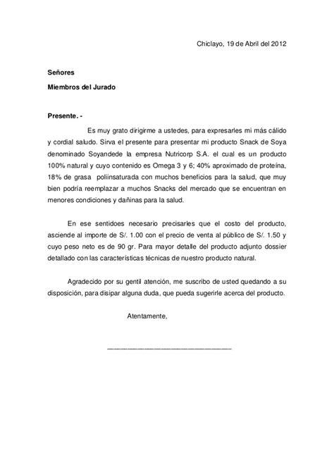 carta formal para vender un producto carta de presentacion de producto
