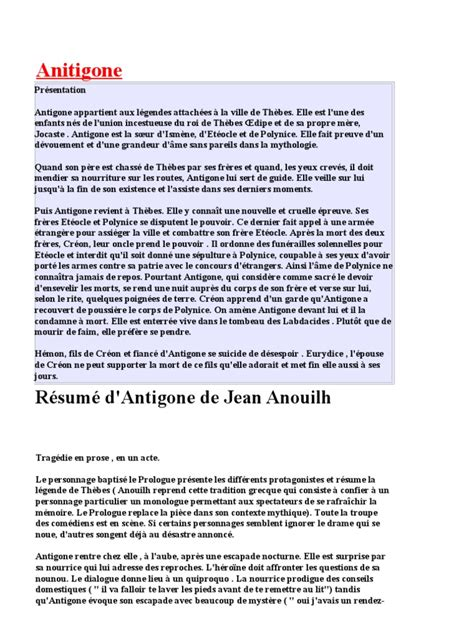 Resume D Antigone De Jean Anouilh by Resume De Antigone Resume De Antigone Par 100 Images