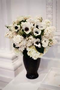 black and white flower centerpieces coco chanel inspired bridal shower at the richard