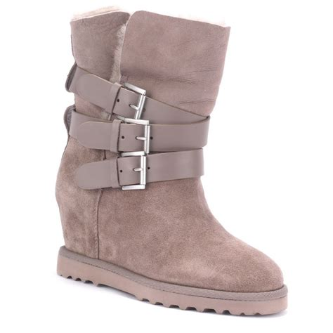 ash yes taupe suede fleece lined wedge boots ash from