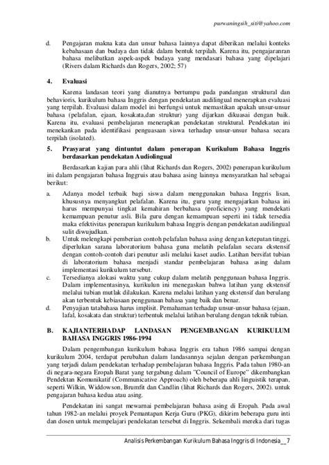 Lu Emergency Di Jakarta analisis perkembangan kurikulum bahasa inggris di indonesia