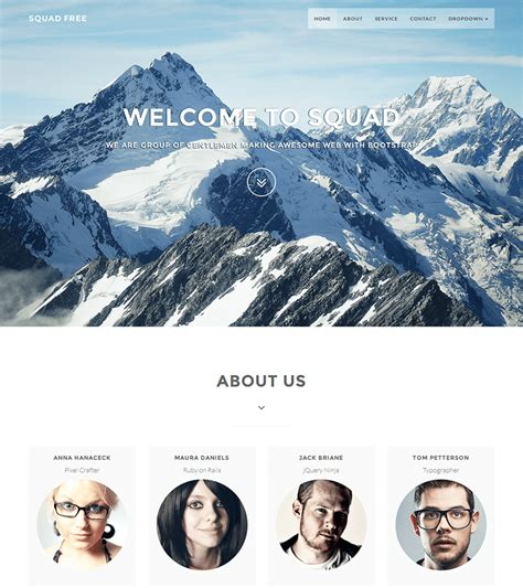 free bootstrap themes oleose squadfree free bootstrap template for creative