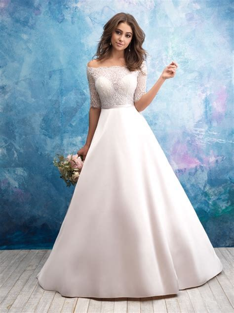 Off The Shoulder Illusion Bodice Satin Skirt Wedding Dress